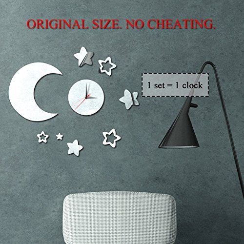 Himerus Modern 3D Diy Art Silver Wall Clock Moon and Stars Stickers Home Derocration Mirror Wall (Magic Mirror On The Wall Quote)