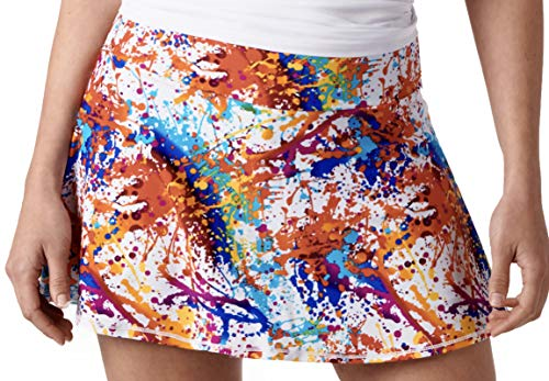 (Queen of the Court Splatter Paint Women's Athletic Tennis Skirt | Tennis Skort | Running Skirt | Golf Skirt (Medium))