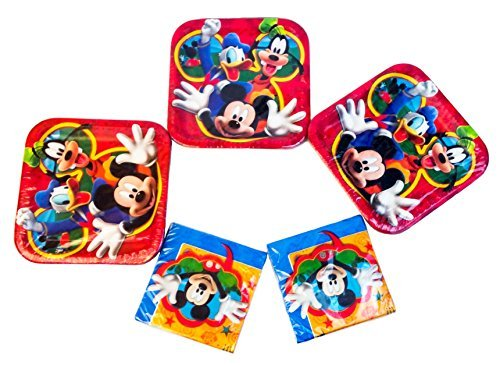 Disney Mickey Mouse Clubhouse Playtime Square Dinner Plates (24 Plates) and 32 Luncheon Napkins. Party -