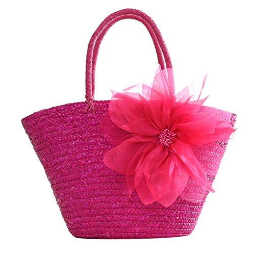 De Bolsos Mujeres De Rosa De Grandes Mano Bolsas Paja Playa Flor Bolso Hombro ZKOO x0UBFqIw0