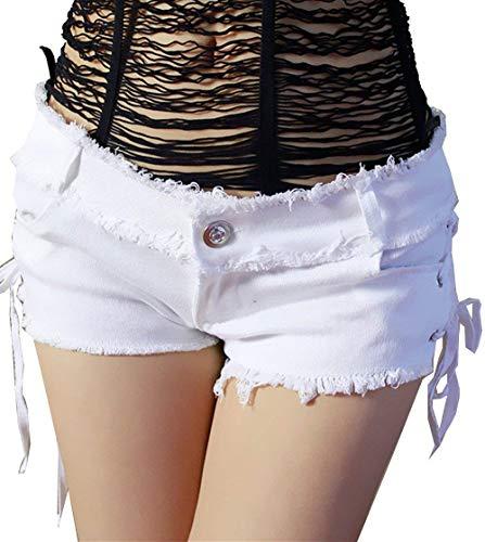 Inferior Cortos Mujeres El Vaqueros Sólido Bajo Paquete Nocturno Verano Ropa Marea Pantalones Las Damas Club De La Mezclilla Blanco IxzqfHOwS