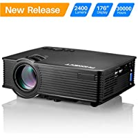 Projector, PHONECT 2400 LUX 4Inch Mini Projector with 170 Display Portable LED Video Projector Support Full HD 1080P Home Theater Movie Projector Work with Fire TV Stick PS4 HDMI USB SD Card VGA AV