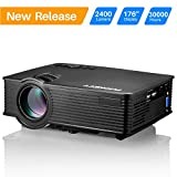 """Projector, PHONECT 2400 LUX 4Inch Mini Projector with 170"""" Display Portable LED Video Projector Support Full HD 1080P Home Theater Movie Projector Work with Fire TV Stick PS4 HDMI USB SD Card VGA AV"""