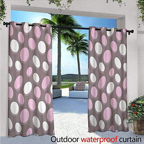 - BlountDecor Geometric Indoor/Outdoor Single Panel Print Window Curtain W72 x L108 Retro Oval Pattern Circles Abstract Pale Vintage Elliptical Design Silver Grommet Top Drape Warm Taupe Pink Cream