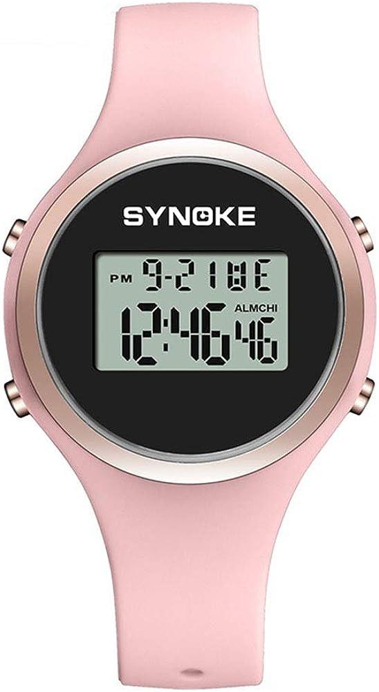 Relojes Pulsera Multifunción Calendario Alarma Redondo Digital Relojes Mujeres Chicas Correa de Silicona Deportivo