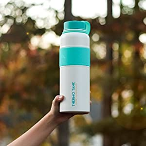Thermo Tank Insulated Stainless Steel Water Bottle - Ice Cold 36 Hours! Vacuum + Copper Technology - SS Inner Lid, Silicone Grip - 40 Ounce (White + Mint, 40oz)