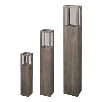 3-tlg Windlichtsäule SET Säulen Windlicht Kerzenständer Gartendeko MDF mit Glas