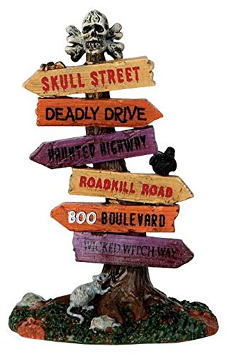 Spooky Halloween Signs (Lemax Spooky Town Scary Road Signs # 64054)
