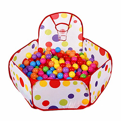 Collapsible Children Toddlers Ball Pit Tent Sea Ball Pool Toy with Basketball Hoop and Zippered Storage Bag by S.K.L, 5 Ft/150cm (Balls Not Included) (Hoop Collapsible Basketball)
