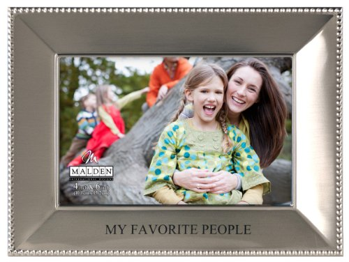 Malden International Designs Simply Stated Satin Silver Metal My Favorite People Picture Frame, 4x6, Silver
