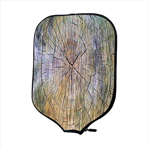 (CANCAKA Neoprene Pickleball Paddle Racket Cover Case,Rustic Home Decor,Annual Rings of Wood Growth Dirty Inner Tree Body Branch Whorls Width Design,Brown,Fit for Most Rackets)