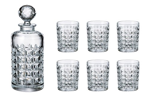 Crystalex Bohemia Diamond Whiskey Set, 1 Bohemian Crystal Glass 23-Ounce Decanter with Stopper and 6 Tumblers by Crystalex