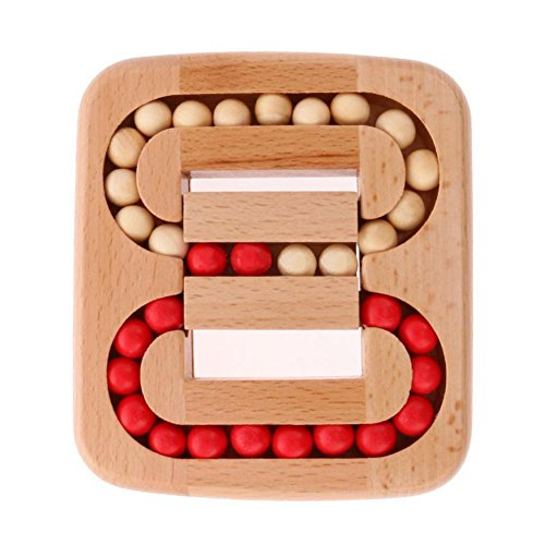 Catnew Kids Baby Intelligence Toy Wooden Chinese Brain Teaser Game Toy 3D Puzzle for Children Adults Ball in Maze ()