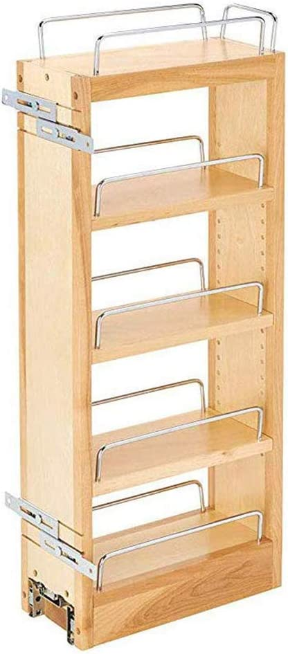 Amazon Com Rev A Shelf 448 Wc 5c 5 Inch Base Cabinet Pull Out Storage Organizer With 3 Adjustable Wood Shelves And Chrome Rails Maple Home Kitchen