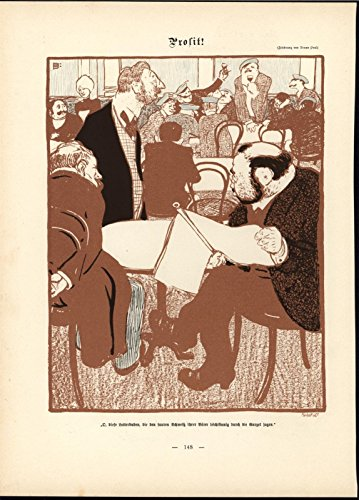 Toasting Wine Glasses Boisterous Cafe Diners 1898 antique Art Nouveau print ()