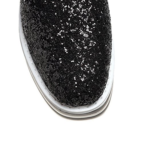 Closure No Womens Loafers Shoes Sequin Black Loafers Platform Shoes AdeeSu SDC03655 wE4Axqw