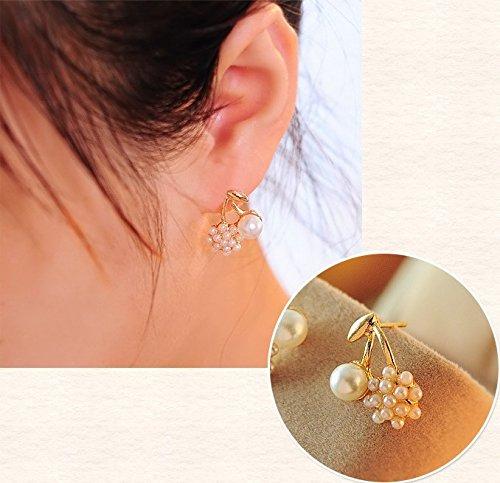 JD Million shop New !!! Jewelry Wholesale Beautifully Compact Fashion Wild Cherry Pearl Mosaic Sphere Shape Stud Earrings For Women E-26