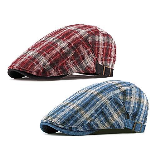 (ZLSLZ 2 Pack Men's Plaid Cotton Flat Newsboy Ivy Cabbie Golf Gatsby Cap Hat (282BLU+RED))