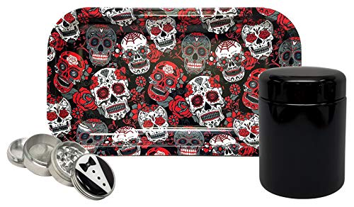 ass Stash Jar, Hippie Butler 42mm Grinder, with Rolling Paper Depot Rolling Tray (Skulls) - 3 Item Bundle ()