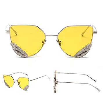 Z&YQ Lunettes de soleil hommes et femmes aile décoration plat lumière rétro lunettes sauvages , silver box