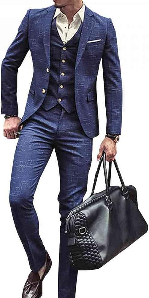 Mens 3 Piece Classic Tweed Herringbone Check Tan Slim Fit Vintage Suit