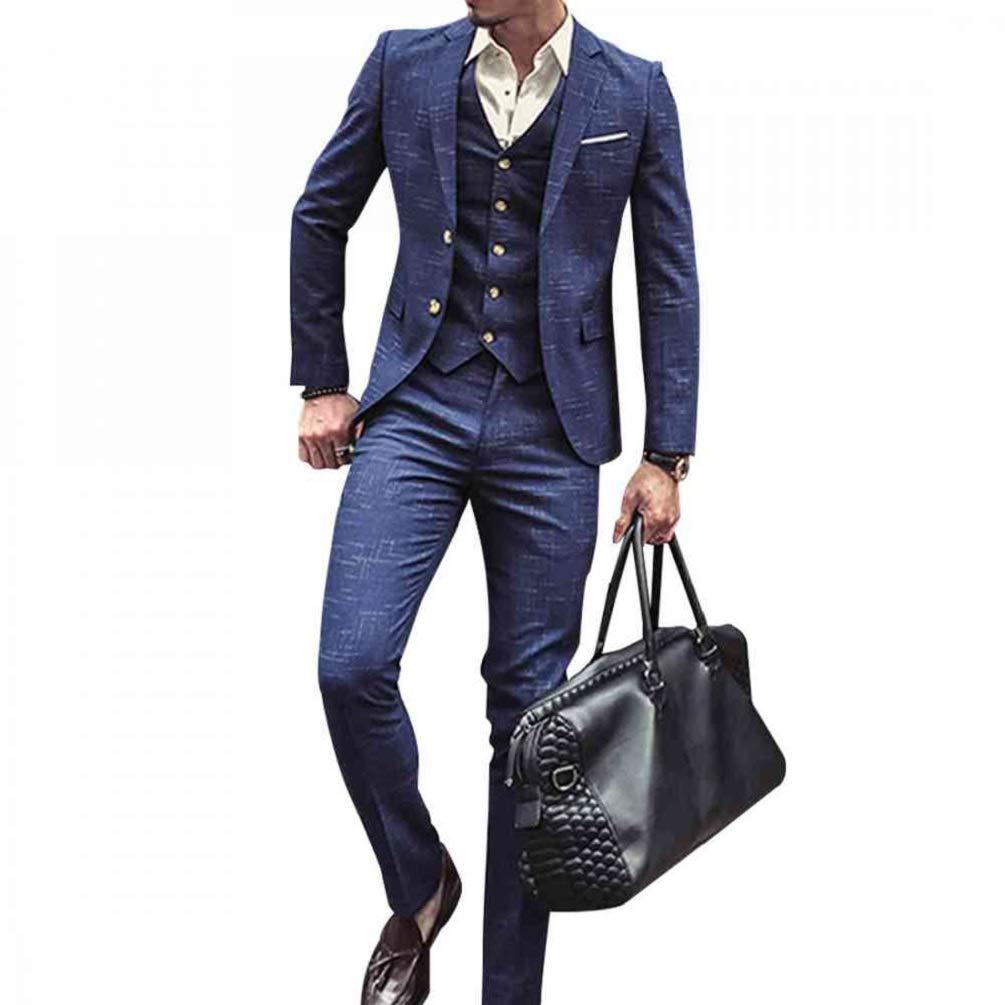 NSBS Mens 3 Piece Classic Tweed Herringbone Check Tan Slim Fit Vintage Suit (M) by NSBS
