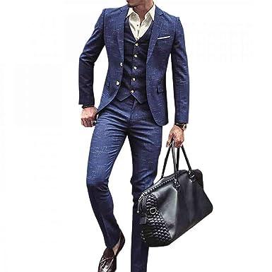01d91b7966a4a3 NSBS Mens 3 Piece Classic Tweed Herringbone Check Tan Slim Fit Vintage Suit  (S)