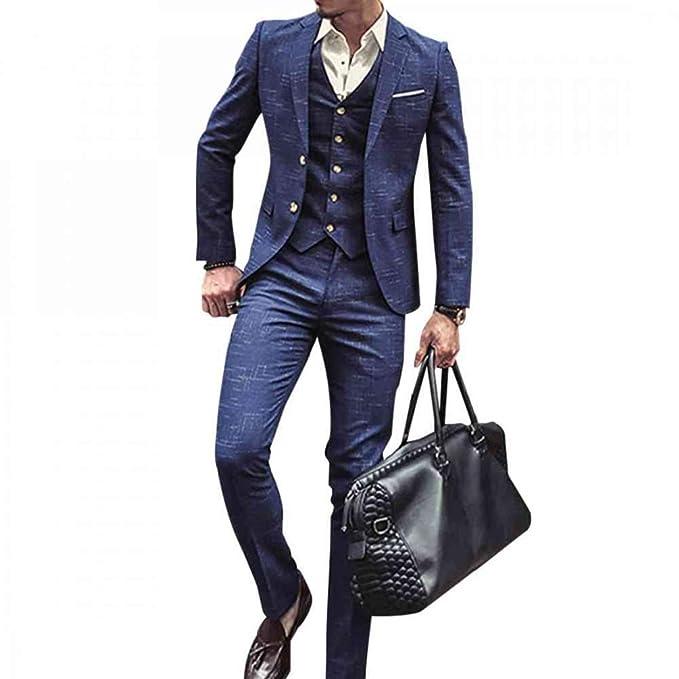 Amazon.com: NSBS Traje clásico de tweed para hombre, 3 ...