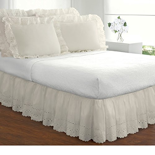 Vintage Bedskirt - 1 Piece Hanging 14inch Long Ivory White Queen Bedskirt Ruffled Old Fashioned Style, French Country Pattern Stylish Eyelet Vintage Antique Classic Victorian Drops Covers Box Spring, Cotton Polyester
