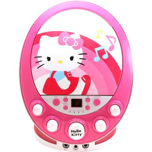 (Sakar Hello Kitty Cd+g Karaoke Machine with Lights - Pink - Karaoke CDG Players - Children's Gadget - Portable - Displays Song Lyrics on Your Television Screen - Enhanced Vocal Effects with Echo)