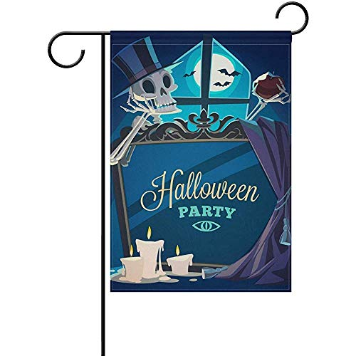 Sandayun88x Garden Flags Halloween Creepy Skeleton Welcome Garden Flag 12 X 18 Inches, Double Sided Seasonal Outdoor Flag and Best for Party Yard Home -