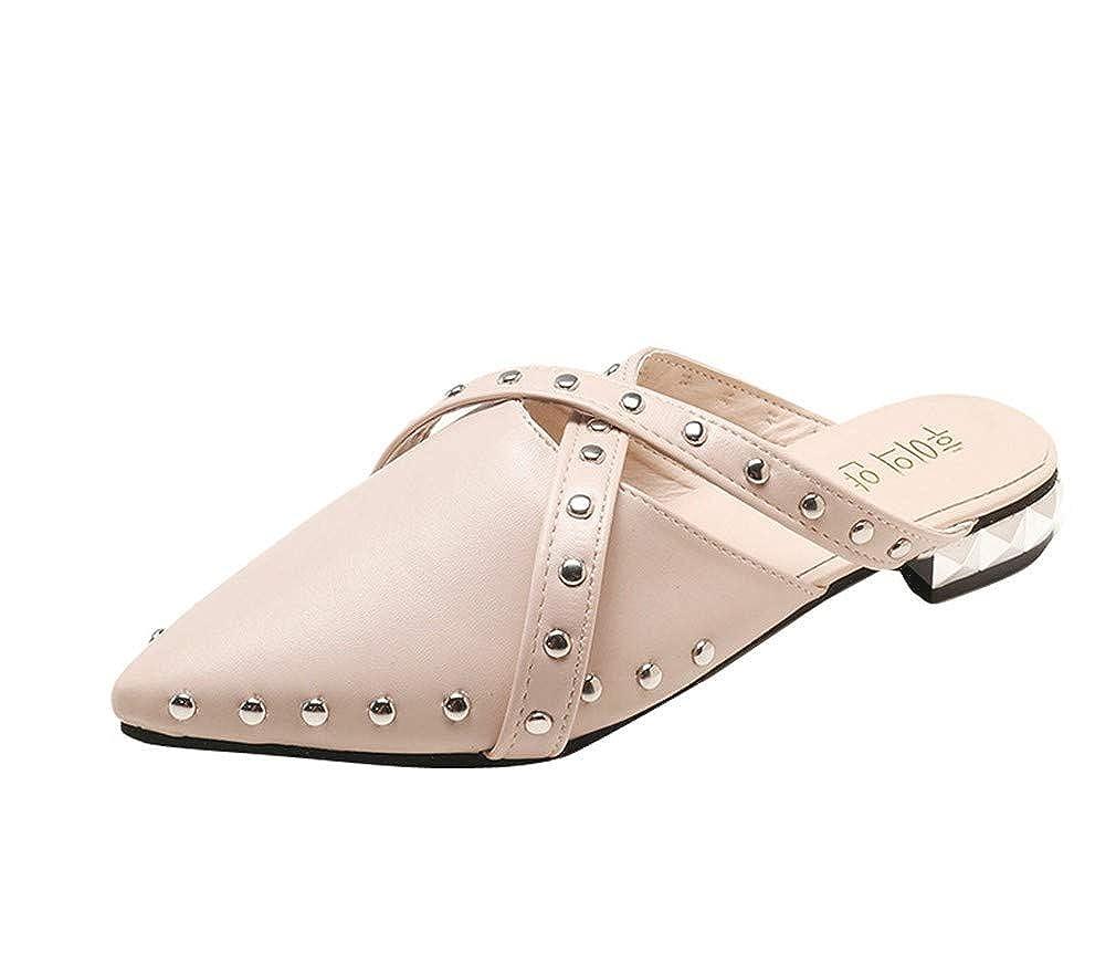 YUCH Chaussons Pointus Rivets Plates Occasionnels Chaussures De Dames Dames Plates Occasionnels Mi f4b64c3 - digitalweb.space