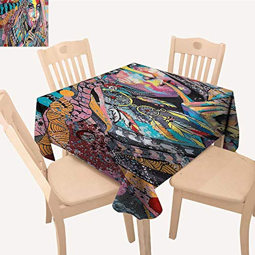 - UHOO2018 Polyester Tablecloth Square/Rectangle Sexy Talisman Girl Dreamcatcher Tribal Murky Boho Paint Resistant and Waterproof,50x 50inch