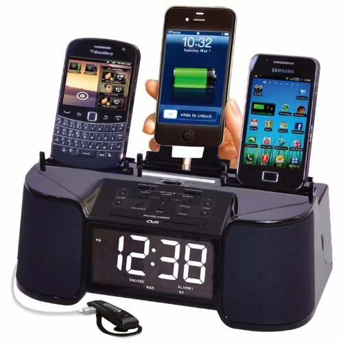 4 Port Smart Phone Charger with Speaker, Alarm, Clock & FM Radio (Dock Nano With Clock Ipod Radio)