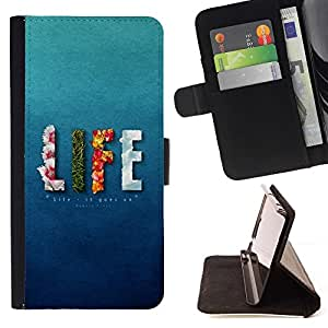 Momo Phone Case / Flip Funda de Cuero Case Cover - Vida floral Elementos de Bomberos texto azul - Sony Xperia Z5 5.2 Inch (Not for Z5 Premium 5.5 Inch)