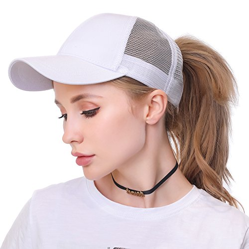 Womens Ponytail Messy High Buns Trucker Ponycaps Plain Baseball Visor Cap Dad Hat Adjustable Size, Variy Styles and Colors