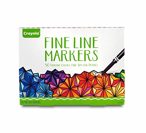 Crayola Fine Line Markers, Assorted Colors, Adult Coloring, 40 Count, Stocking Stuffer, Gift ()