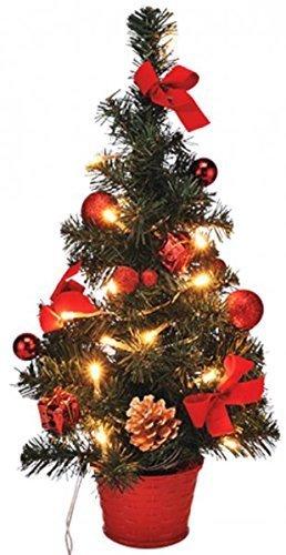 Geschmückter Künstlicher Weihnachtsbaum Mit Lichterkette.Gravidus Künstlicher Weihnachtsbaum Geschmückt Mit Led Lichterkette 40 Cm Rot