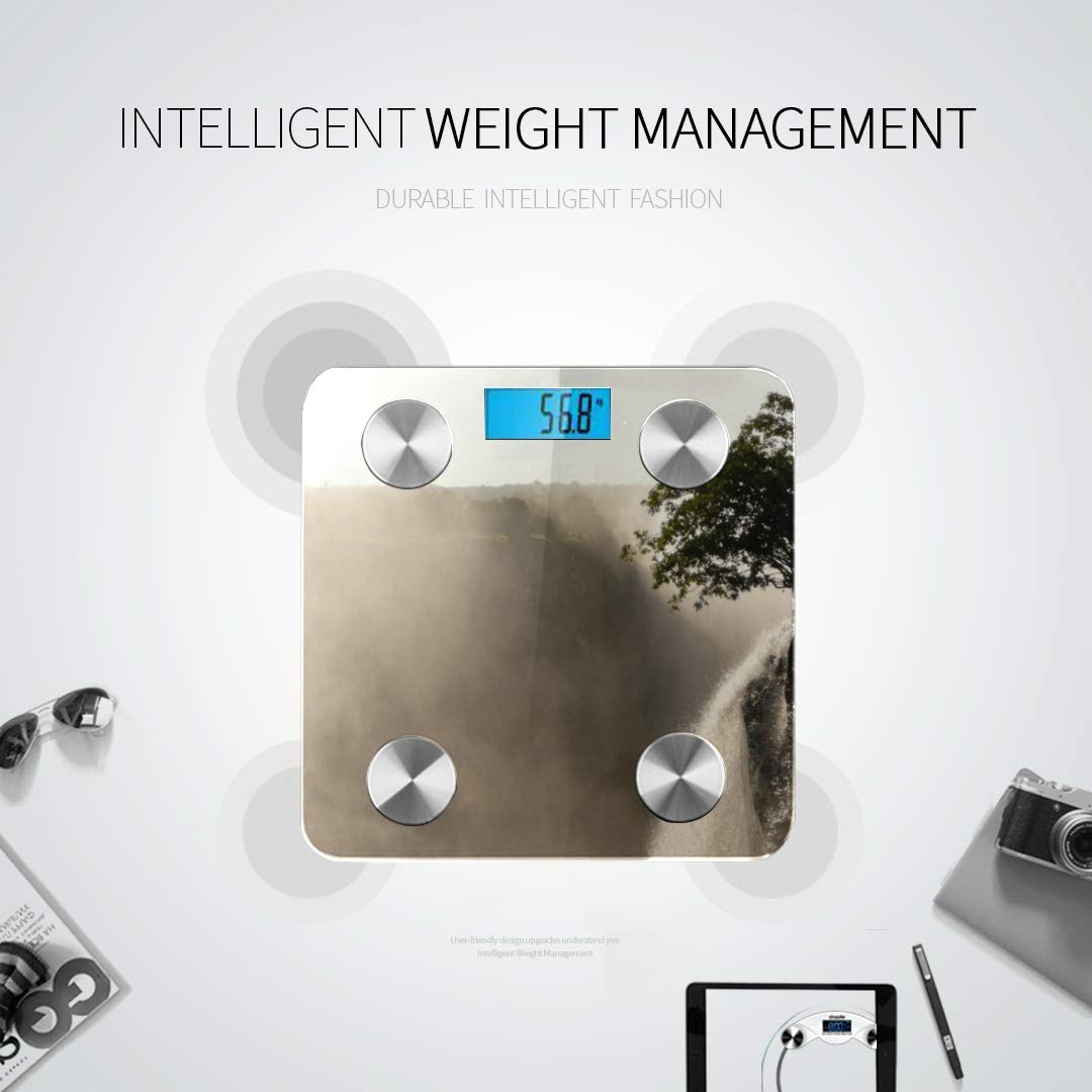 Bluetooth Body Fat Scale Water Pouring Over Crest On Edge Smart Wireless Scale with LCD Display Measuring Body Weight Bmi and Health Digital Scale