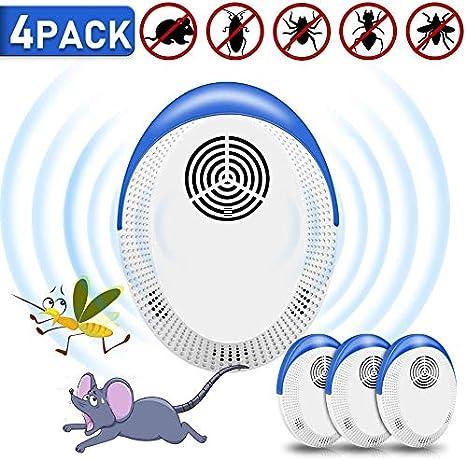 4 Pack Repelente Ultrasónico de Plagas,Mosquitos ultrasónicos portátiles Ahuyentador de Ratones ultrasonidos Repelente Ultrasónico Mosquitos Insectos Inofensivo para Mascotas y Humanos