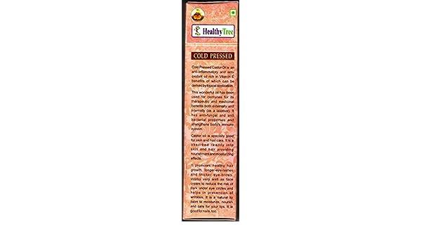 Aceite de ricino 100% puro, 100 ml, de Healthy Tree Extra virgen, prensado en frío, no GMO para el pelo, pestañas de ojos y crecimiento de cejas.