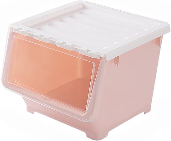 DQMSB Frente abierto caja de almacenamiento de juguetes de plástico transparente cocina caja de almacenamiento de la puerta lateral de los niños caja de almacenamiento caja de almacenamiento Caja de a: Amazon.es: