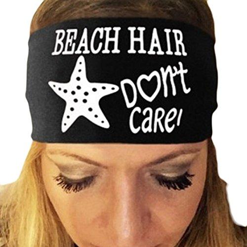 YJYDADA Headband,Ladies Letter Print Sports Yoga Sweatband Gym Stretch Headband Hair Band (Black)