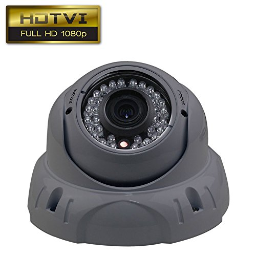 Dripstone 2.4MP 1080p HD-TVI Sony Sensor CCTV Dome Security Camera 2.8-12mm Varifocal Lens IR-CUT 36 IR Leds Night Vision Indoor/Outdoor IP66, Gray