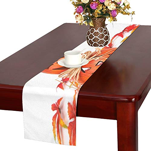 Autumn Decoration Face Fall Funny Gourd Halloween Table Runner, Kitchen Dining Table Runner 16 X 72 Inch for Dinner Parties, Events, Decor