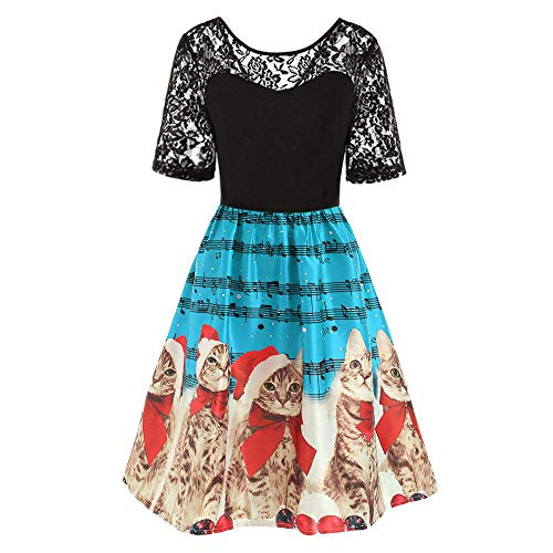 HYIRI Christmas Dress for Women,Ladies Vintage Christmas Print Evening Party Dress Prom Swing Dress