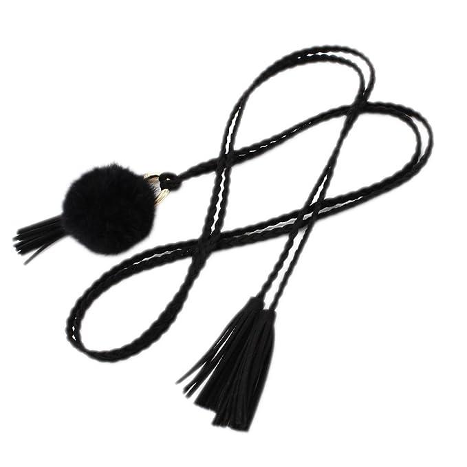 Cinturón De Moda Mujer Cintura Cinturón Bellas Belt Microfibra Borlas Vestido Casual Cintura Cadena, Black-S: Amazon.es: Ropa y accesorios