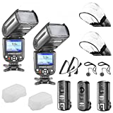 Neewer® NW-985C E-TTL 4-Color TFT Screen Display *High-Speed Sync* Camera Slave Flash Speedlite Kit for Canon EOS 700D/T5i 650D/T4i 600D/T3i 1100D/T3 550D/T2i 500D/T1i 100D/SL1 400D/XTi 450D/XSi 300D/Digital Rebel 20D 30D 60D 5D Mark III 5D Mark II and All Other Canon DSLR Cameras, includes: (2)NW985C Flash + (1)2.4GHz Wireless Trigger (1 Transmitter, 2 Receivers)+ (2)Cables (C1-Cord + C3-Cord