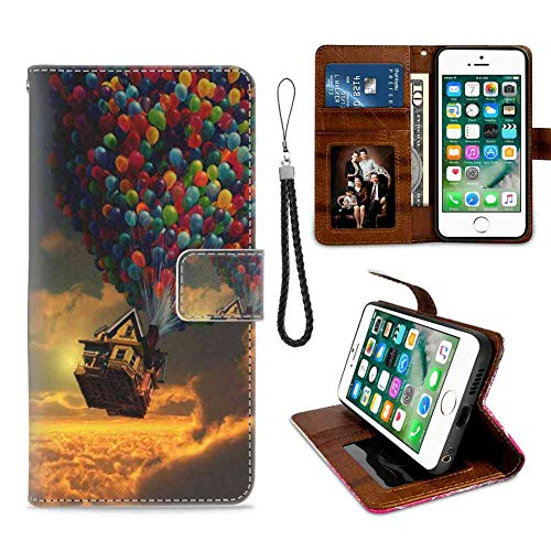 Wallet Case Compatible for iPhone 6/iPhone 6S 4.7 Inch Disney Film House Movie Pixar Up Wind