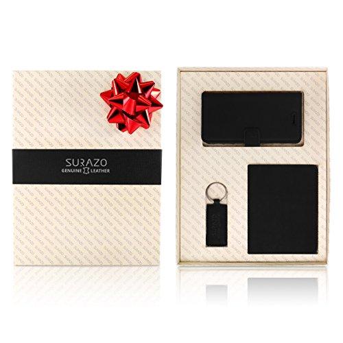 SURAZO Leder Geschenkset Handy Schutzhülle, Geldbörse, Schlüsselring - Farbe Schwarz Vintage Kollektion für Samsung Galaxy S7 Edge G935